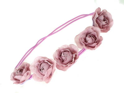 Lilac Rose Garland Double Elastic Head Band