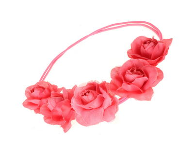 Bright Pink Garland Double Elastic Head Band