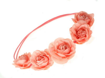 Salmon Pink Garland Double Elastic Head Band