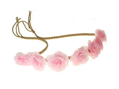 Pink Pastel Rose Garland Festival Head Band