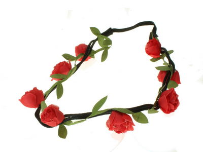Red Rose Vine Garland Festival Head Band