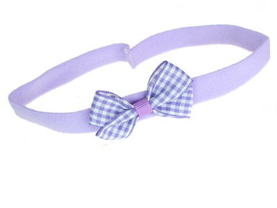 Lilac Gingham Bow School Headband Bandeau