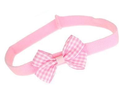 Pink Gingham Bow School Headband Bandeau