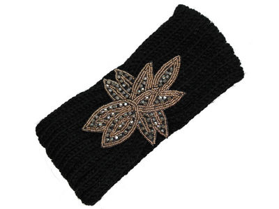 Gold Silver Flower Winter Knitted Headband