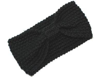 Black Knotted Bow Winter Knitted Headband