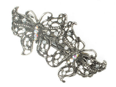 Antique Silver Butterfly Hair Barrette Clip