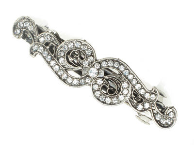 Antique Silver Swirl Hair Barrette Clip