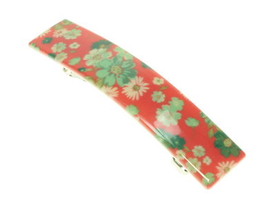 Red Ditsy Floral French Clip Barrette