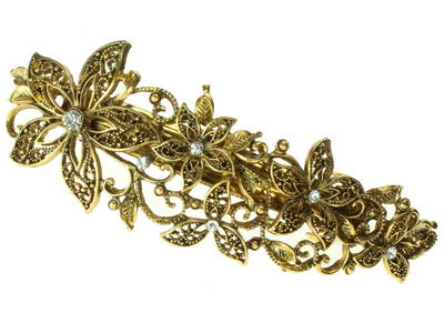 Gold Vintage Filigree Floral Barrette
