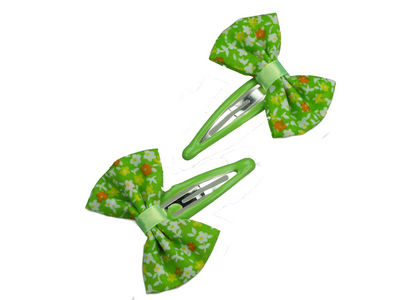 Green Flower Bow Hair Clip Bendies