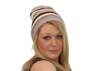 Winter Super Soft Knit Striped April Beanie Hat - Pink