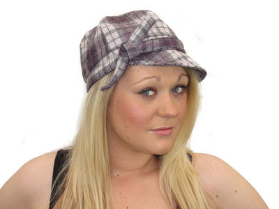 Winter Checked Clifton Bakerboy Cap - Purple