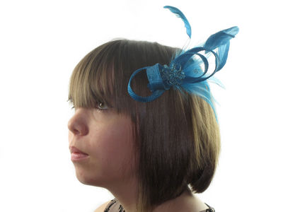 Teal Blue Beaded Bow Clip