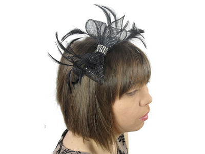 Black Lurex Crystal Bow Fascinator