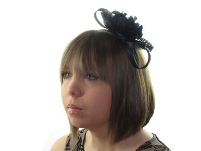 Dark Navy Feather Flower Fascinator
