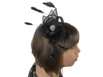 Black Crystal Cluster Flower Comb