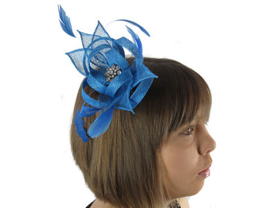 Blue Crystal Cluster Flower Comb