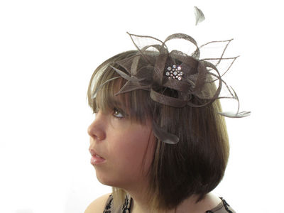 Taupe Brown Crystal Cluster Flower Comb