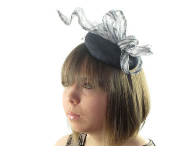 Navy/Silver Pill Box Fascinator Band