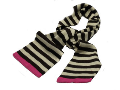 Winter Super Soft Striped Evie Scarf - Choc/Pink