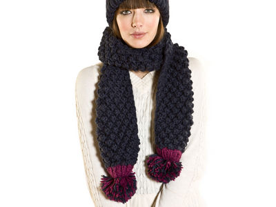 Winter Chunky Knit Harmony Scarf - Navy Blue