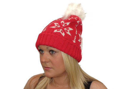 Winter Helga Knitted Beanie Hat - Cherry Pink