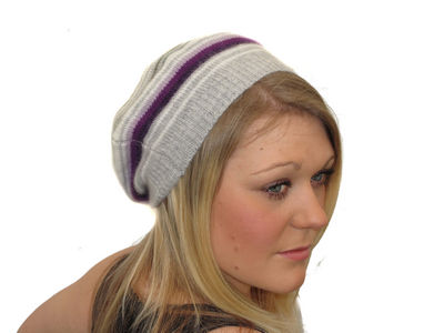 Winter Ultra Soft Striped Kelly Beret - Grey