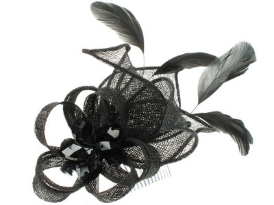 Black Crystal Fascinator Comb