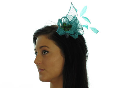 Teal Crystal Fascinator Comb