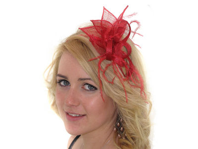 Red Petal Looped Fascinator Band
