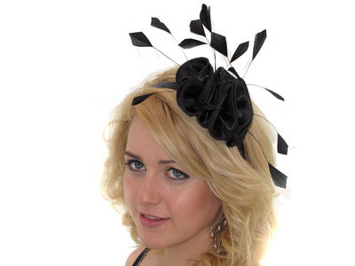 Black Satin Ruffle Fascinator Band