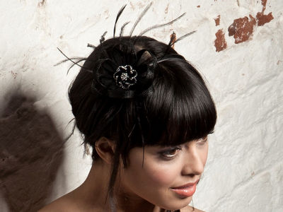 Black Crystal Ruffle Fascinator Band