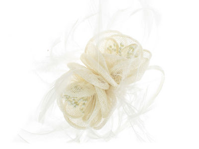 Ivory Flowers Fascinator Band