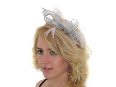 Silver Grey Crystal Looped Fascinator Band
