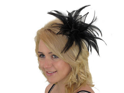 Black Organza Leaves Fascinator