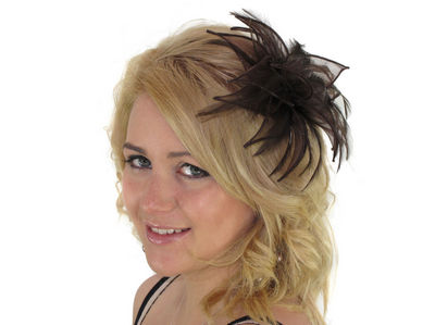 Chocolate Organza Leaves Fascinator