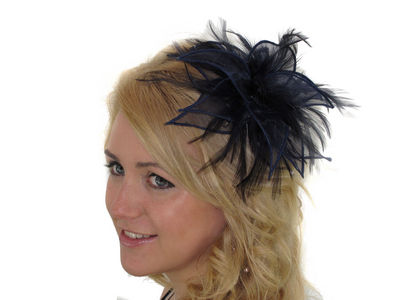 Navy Organza Leaves Fascinator