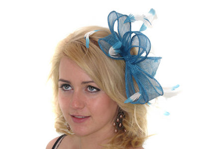 Teal Sinamay Bow Fascinator