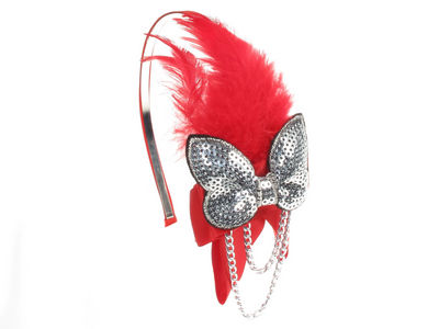 Red Butterfly Fascinator Band