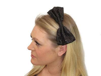 Black Sequinned Bow Fascinator Band