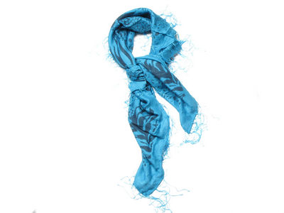 Blue Floral Animal Print Woven Fashion Scarf