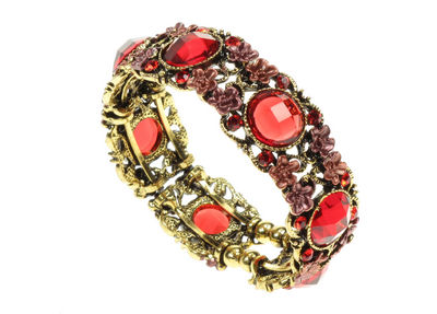 Antique Gilt Jewel And Flower  Cuff Bangle - Red