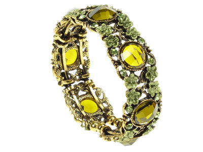 Antique Gilt Jewel And Flower  Cuff Bangle - Green