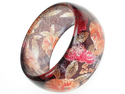 Glitter Flower Red Bangle