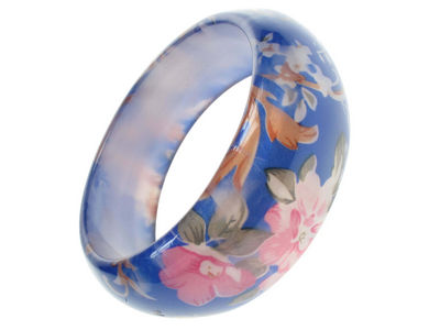 Resin Blue Flower Bangle