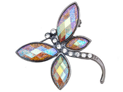 Gold Glitter Dragonfly Brooch