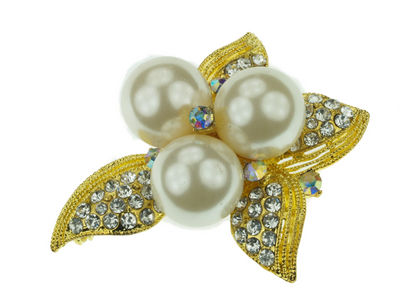Gilt Triple Pearl Petal Brooch