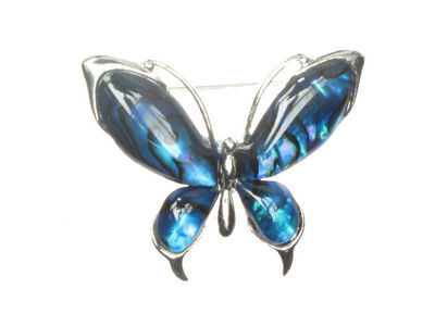 Blue Marble Butterfly Brooch