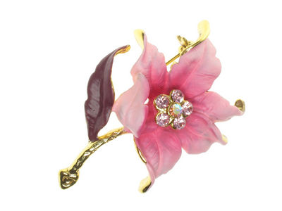 Pink Crystal Flower  Brooch