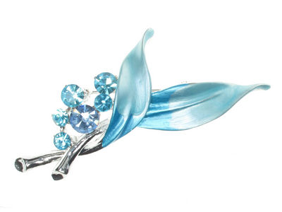 Blue Leaf Brooch